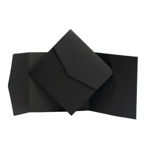 Formal BLACK Invites. Envelope style invitations. Pocketfold Cards. DIY Wallet