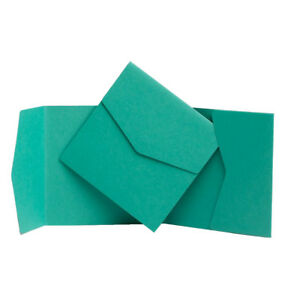 Jade Green Pocketfold WEDDING invitations. Envelope Style Invites. Wallet Cards