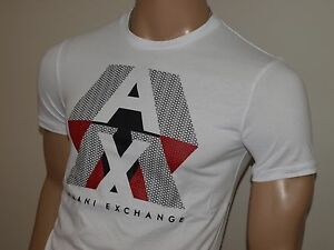 Armani Exchange Authentic AX Optic Pieced Logo T Shirt White Red or Navy NWT