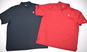 Lot of 2 UNDER ARMOUR Mens XL Stanford University Cardinals Golf Polo Shirts Red