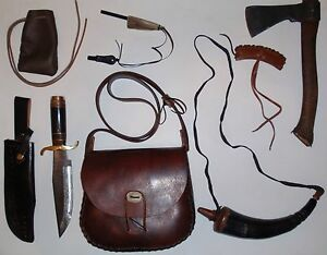 BLACK POWDER POSSIBLE Bag Buffalo Leather Horn Bowie Knife Shooter Pouch Hatchet