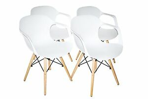 White Plastic Molded Dining Armchairs Modern with Natural Wood Legs Set of 4