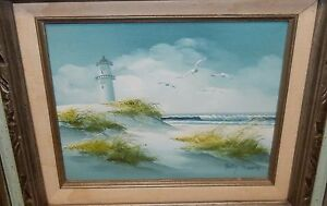 BETTY MOORE ORIGINAL OIL ON CANVAS SEASCAPE LIGHTHOUSE PAINTING $99.99