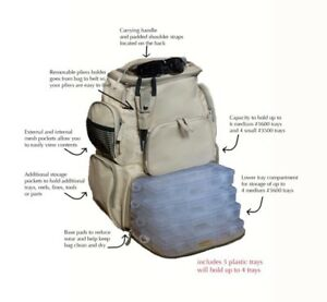 Fishing Tackle HD Backpack w 3 Trays  Storage Water resistant Tactical Cover