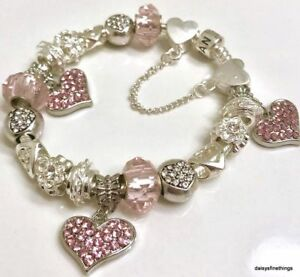 AUTHENTIC PANDORA  BRACELET W CHARMS PINK HEARTS LOVE CHOICE OF BOX