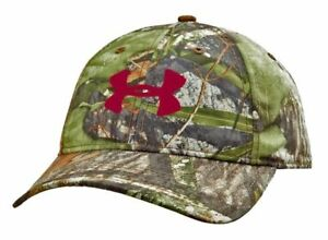 NEW Under Armour Heat Gear Realtree CamoBurdundy OSFA Mens HatCap