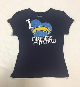 Women's REEBOK NFL Heart Los Angeles LA CHARGERS Football Shirt Top Small S