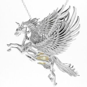 925 Sterling Silver Pegasus Unicorn Pearl Cage Pendant & Necklace