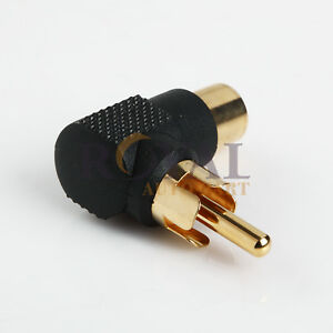 Right Angle RCA Adapter Gold Plated Male to Female Audio Video Connector $6.55