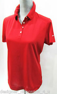 NWT Nike Dri-Fit Red Golf Ladies Polo Sport Shirt Womens Top Dr. Pepper SIZE M
