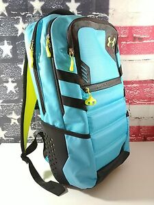 Under Armour Storm UA PARRALUX Backpack Lime Green Blue Heat Gear MSRP $149.99