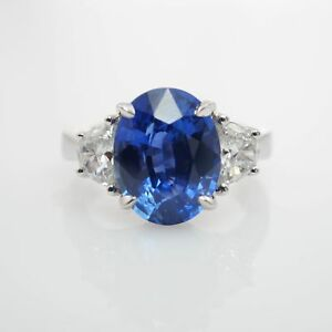 Elegant 6.13CTW Natural Oval Sapphire & Half Moon Cut Diamond Cocktail Ring