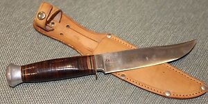 1940s Vintage BOWIE KNIFE Hunting Knife Germany w Leather Holster NEW OLD STOCK