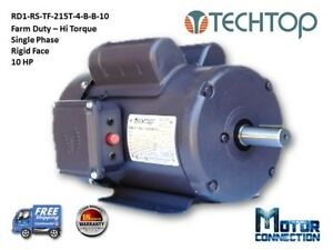 10 HP Electric Motor Farm Duty 1800 RPM  Single Phase 215T Rigid-Face