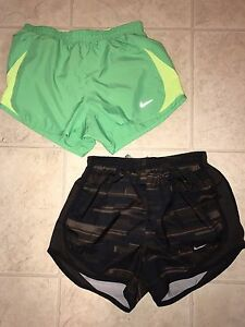 NIKE  ~ Women's Brown Green Athletic Running Work Out Track Shorts Lot of 2 ~ XS