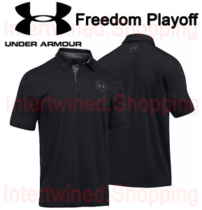 Under Armour Men's 1301233 Loose Sweat Wicking Freedom Playoff Polo Black Shirt