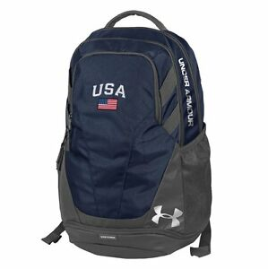 Under Armour-Hustle Iii-Usa Backpack With American Flag Patch-Navy Adjustable