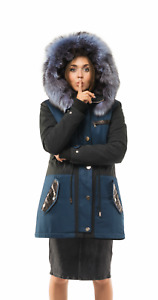 Women's Parka Coat Luxury Jacket w Silver Fox Fur Lining & Python Skin Trims