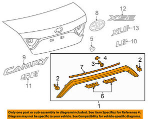TOYOTA OEM 15-17 Camry Trunk Lid-License Molding 7680106611