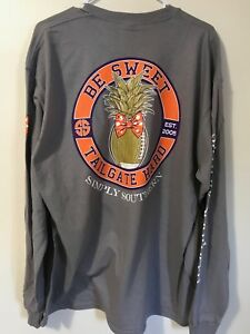 Simply Southern Womans Tee Long Sleeve T-Shirt Tailgate Football Tailgate Orange