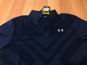 MWT Under Armour Men's SMALL ArmourVent Heat Gear Loose Fit NAVY BLUE Polo Shirt