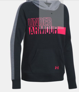 Under Armour Girls Favorite Fleece Hoodie -Black- YSM- #1301660-001 - NWT