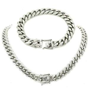 12mm Miami Cuban Link Bracelet & Chain Set Stainless Steel Looks Like Silver Men