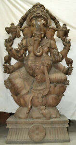 Old Masterpiece Solid Wooden Ganesh Statue Unique Hand Made Nepal Huge 6ft 100kg