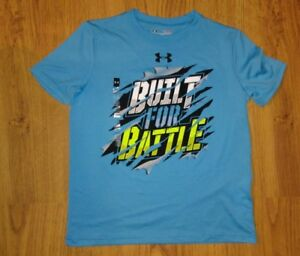 Boys Lot of 2 UNDER ARMOUR Loose YSM Youth Small Shirt Blue Built for Battle New