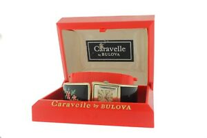 Ladies Vintage Caravelle by Bulova Floral Hidden Watch Cuff Bracelet *Sold As Is