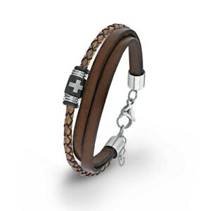S.Oliver Jewel Men's Bracelet Stainless Steel Leather Brown Cross 2012631