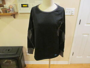 Under Armour womens BASEMAP 2.5 Fitted Black Crew Shirt Top $85 L Large NIB New