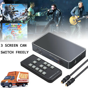 3 Port HDMI-HDMI Switcher Optical TOSLINK SPDIF HDMI Switch with Audio Extractor
