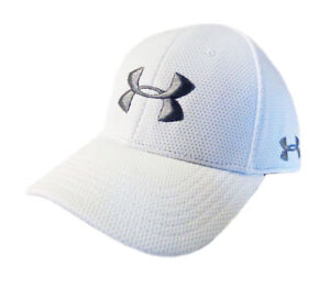 NEW Under Armour Performance Heat Gear WhiteSilver Fitted LXL HatCap