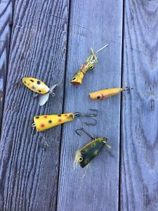 Vintage Atlantic Lures Frantic Antic Wooden Lure Popper Frog & Misc Wood