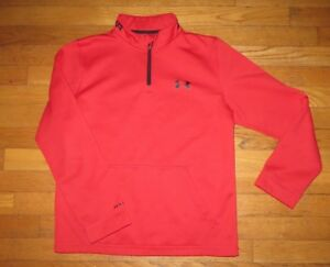 Boys Under Armour Cold Gear Loose 14 Zip Sweat Shirt Red Youth Extra Large YXL