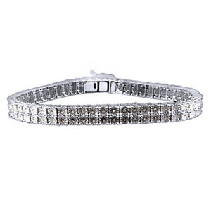 0.50 Ct Round Real Diamond 2 Row Men's Women's Bracelet In 18K White Gold Over