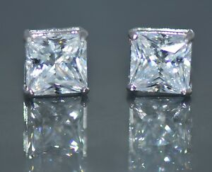14K Solid White Gold Created Diamond Princess Cut Screw Back Stud Earrings 5.5CT