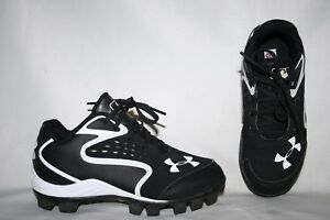 Under Armour Baseball Cleats Size 12K Black White Sports Shoes Boys