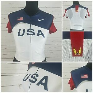 Nike 2000 USA Olympic Track and Field Jersey Shirt Size Lrg Built In Sports Bra