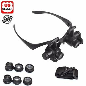 Double Eye Jewelry Watch Repair Magnifier Loupe Glasses With LED Light 8 Lens US $9.88