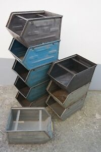 Antique Storage Box Metal Industrial Design Shelf Loft Design