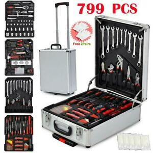 799 PCS Hand Tool Set Mechanics Kit Wrench Socket Toolbox Castors Trolley Keys $89.59