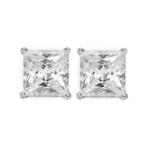 1 Ct Princess Cut Diamond Earrings in Solid 14k White Gold Screw Back Studs