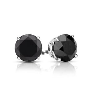 2 Ct Round Cut Black Diamond Earrings in Solid 14k White Gold Screw Back Studs