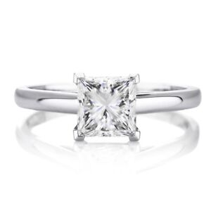1.5 Ct Princess Cut Solitaire Diamond Engagement Ring in Solid 14K White Gold