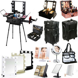 Professional Makeup Case Box w Light  Cosmetic Bag  LED Lighted Make UP Mirror