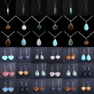 Natural Stone Necklace Pendant Healing Bullet Earring Heart Turquoise Jewelry