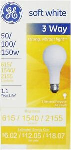 GE SoftWhite Light Bulb 3 Way 50 100 150 Watt 1 ea Pack of 2