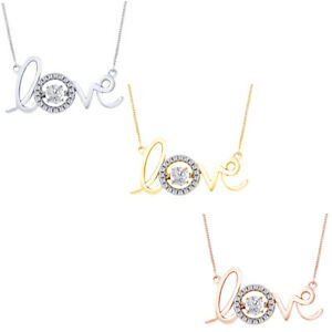 quot;Lovequot; Dancing VVS1 Round Diamond Pendant Necklace IN 18K Gold Over